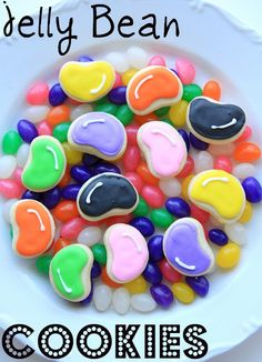 Jelly Bean Cookies - Munchkins Munchies http://www.munchkinmunchies.com/2012/03/jelly-bean-cookies.html