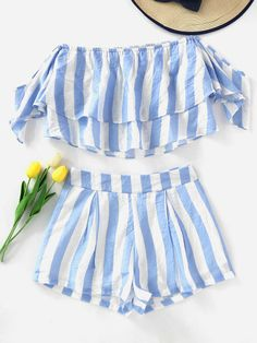 Shop Off Shoulder Striped Layered Crop Top With Shorts online. SheIn offers Off Shoulder Striped Layered Crop Top With Shorts & more to fit your fashionable needs. Cute Summer Outfits, Outfits For Teens, Spring Outfits, Cute Outfits, Girls Fashion Clothes, Girl Fashion, Fashion Outfits, Cropped Tops, Crop Top Und Shorts