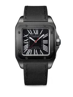 Cartier Santos 100 Stainless Steel, ADLC & Leather Strap Watch