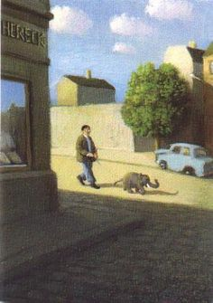 Painting by Michael Sowa with a man that takes a walk with his puppy-sized elephant.  Thought you'd like it. (:  DFTBA  (submitted by Alinde Andersdotter)