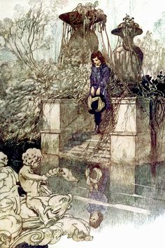 "There were trees … and a large pool with an old grey fountain ... Illustration by Charles Robinson from ""The Secret Garden"" (1911)"