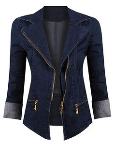 HOT FROM HOLLYWOOD Women's Button Down Long Sleeve Classic Outerwear Denim Jacket - Apparel - Frequently updated comprehensive online shopping catalogs Fashion Wear, Denim Fashion, Fashion Outfits, Gold Fashion, Fashion Clothes, Fall Fashion Trends, Autumn Fashion, Fashion Brands, Very Short Dress