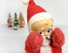 Knickerbocker Baby Santa plush with rubber face by modernpoetry, $39.00