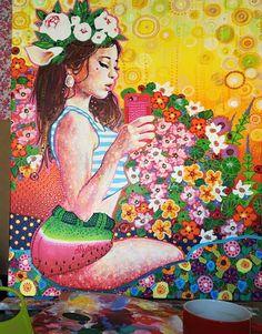Amylee's painting #art #creation #colour #couleur #flowers www.amylee-paris.com