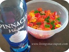 DRUNK GUMMY BEARS! my fav <3 put them in a dish, cover completely with booze, leave in fridge. They need to be soaked for 2 days at least. I used cherry vodka but will use pineapple or orange parrot bay next time, the alcohol taste was still too strong with vodka.