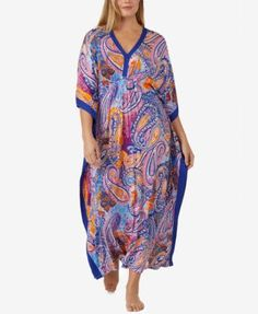 Ellen Tracy Plus Size Printed Knit Caftan | macys.com