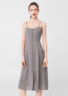 Check pattern midi dress -  Women | MANGO USA