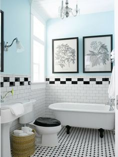 aqua, black and white bathroom decor