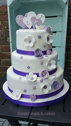 Bruidstaart Lila - Wit Weddingcake