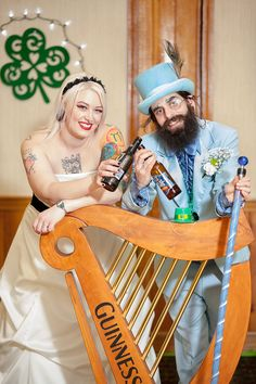 Wild suits, retro dresses, and a green man at this St. Patrick's Day wedding