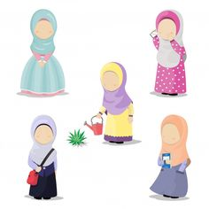 Illustration of hijab girls with different activities Premium Vector Cute Doodle Art, Doodle Art Drawing, Drawing For Kids, Cute Art, Cartoon Girl Images, Cartoon Kids, Cute Cartoon, Chibi Characters, Cute Characters