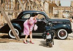 Corset dress  tecido lurrex revestido de algodão com elastano personagem Penelope a charmosa