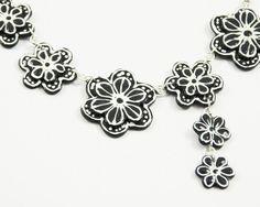 Black White Necklace  Bib  Flower by BoooBeadShop on Etsy, $48.00