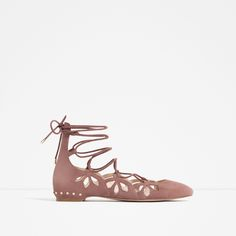 Image 1 of LACE-UP LEATHER BALLERINAS from Zara