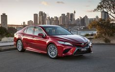 Download wallpapers Toyota Camry, parking, 2018 cars, new camry, japanese cars, Toyota
