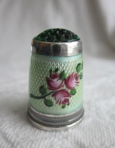 Vintage Jewel Top Sterling Silver & Guilloche Enamel Sewing Thimble  via Etsy.
