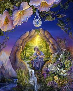 Thirst for Knowledge by Josephine Wall Contained within a single dewdrop tear is a world of education. Mother nature dips her hands into the pool of learning, and as she opens them a mother is revealed bestowing the most precious of gifts to her child – knowledge. The young have a thirst for information which must be fed, and lessons that we learn in youth will map our route through life.