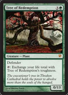 Magic: the Gathering - Tree of Redemption - Innistrad A single individual card from the Magic: the Gathering (MTG) trading and collectible card game (TCG/CCG). This is of Mythic Rare rarity. From the Innistrad set. Green Magic, Mtg Art, Magic The Gathering Cards, Alternative Art, Magic Cards, Wizards Of The Coast, Deck Of Cards, Fun Cards, Dungeons And Dragons