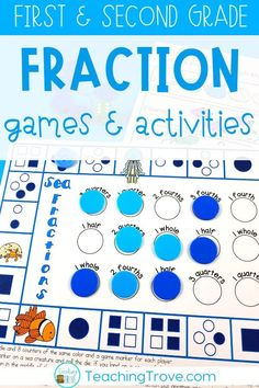 Don't stress over how to teach fractions to your first and second grade students. Use sequenced interactive notebook pages and worksheets and anchor charts to introduce the fraction and then fraction games and hands on activities with small groups to consolidate it.  #fractionsecondgrade #fractionactivities #fractiongames #fractions
