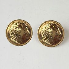 Gold plated coin ALEXANDER THE GREAT round shape push back earrings Lot 35C