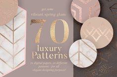70 Spring Rosegold Patterns by Laras Wonderland on @creativemarket