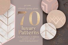 70 Spring Rosegold Patterns by Laras Wonderland on @creativemarket