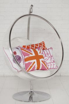 """Playroom-Polished stainless stand, swinging bubble chair. What could be more fun? X  Size / Dimensions: 52"""" wide 63"""" tall"""