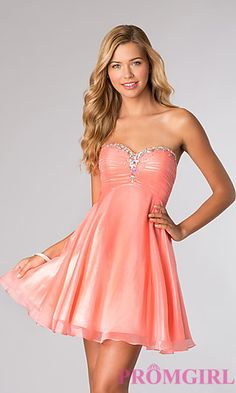 Short Strapless Lace Up Homecoming Dress by Alyce Paris 3598 at PromGirl.com