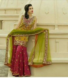 """SHIRIN HASSAN is proud to present our Signature Couture range of Blockprint-Gota work. """"This collection is very close to my heart, I… Pakistani Mehndi Dress, Pakistani Dresses Online, Pakistani Wedding Outfits, Pakistani Fashion Casual, Pakistani Dress Design, Indian Dresses, Bridal Outfits, Girly Outfits, Indian Fashion"""