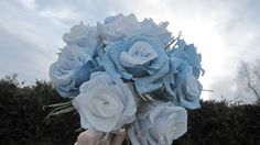 BLUE  LIGHT BLUE bridesmaids bouquet by moniaflowers on Etsy