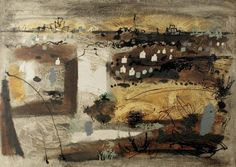 John Piper, Brittany Coast, (NW) France, oil on canvas, x 122 cm. Nottingham Castle Museum and Art Gallery. Seascape Paintings, Your Paintings, Landscape Paintings, John Piper Artist, France Art, Art Folder, Collage, Art Uk, Abstract Landscape