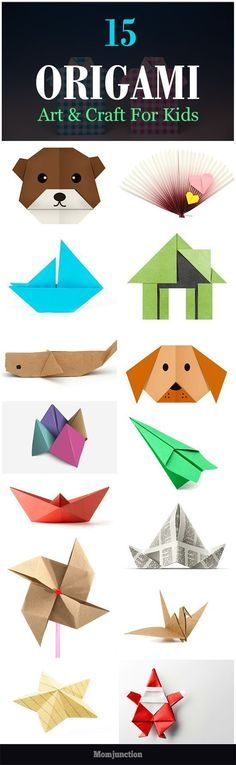 Top 15 Paper Folding Or Origami Crafts For Kids Is your child fond of making origami crafts? Are you looking for some origami tutorials for your creative child? Well, check out 15 origami crafts for kids. Crafts To Do, Crafts For Kids, Arts And Crafts, Children Crafts, Summer Crafts, Diy With Kids, Kids Fun, Projects For Kids, Art Projects