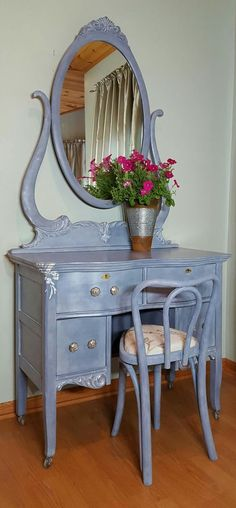 (SOLD) This vanity with mirror and chair has been hand painted with great attention to detail in Annie Sloan Old Violet and highlighted with Pure White and Silver Guilding Wax.