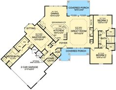 ePlans Country House Plan – Angled Ranch Boasts Dramatic Interior – 2065 Square Feet and 3 Bedrooms from ePlans – House Plan Code [Expand garage by one and add small bungalow off and behind it. Craftsman Style House Plans, Ranch House Plans, Dream House Plans, House Floor Plans, My Dream Home, Ranch Floor Plans, Open Floor Plans, Craftsman Ranch, Craftsman Houses