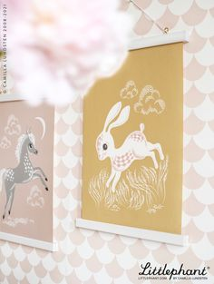 Littlephant Art prints Rabbit and Horse are designed in our Stockholm Studio by Camilla Lundsten. Scandinavian sustainable design for your kids room. Image: Waves wallpaper - dusty pink.