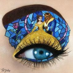 I'm pretty much mind-blown by this Beauty and the Beast eye makeup. I love the stained glass effect and how Belle's gown takes up her whole eyelid.