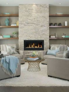 How to Arrange Furniture Like an Expert Before You Move … Home Fireplace, Fireplace Remodel, Living Room With Fireplace, Fireplace Surrounds, Cozy Living Rooms, Fireplace Design, Home Living Room, Living Room Designs, Living Room Decor