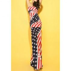 $14.58 Flag Print Color Block Skinny Sleeveless Sexy Style Low Cut Maxi-Dress For Women  Now THAT'S patriotic! lol