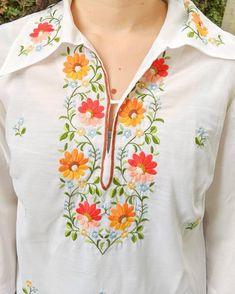 Embroidery On Kurtis, Kurti Embroidery Design, Embroidery Neck Designs, Embroidery On Clothes, Embroidery Suits, Embroidered Clothes, Embroidery Fashion, Embroidered Blouse, Ribbon Embroidery Tutorial