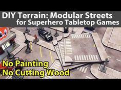 (816) DIY Terrain: Modular Roads for Superhero/Zombie Games - YouTube Game Terrain, Wargaming Terrain, Tabletop Games, Roads, Superhero, Youtube, Diy, Board Games, Road Routes