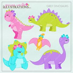 Girly Dinosaurs clipart set comes with 5 cute graphics including: a pink girl T-Rex Dinosaur, a purple girl long neck Dinosaur, an aqua girl triceratops Dinosaur, a lime girl stegosaurus dinosaur and an orange girl pterodactyl dinosaur!