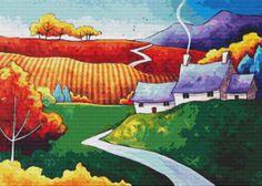 Modern cross stitch by Gillian Mowbray ' A Valley by GeckoRouge #crossstitch #modernart