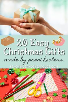 20 easy Christmas gifts made by kids that can be done in the classroom or at home. Perfect for parents, grandparents, and any special person! #Christmas #holidays #gifts #kids #homemade #ornaments #preschool #art #3yearolds #4yearolds #teaching2and3yearolds Kid Made Christmas Gifts, Homemade Christmas Gifts, Simple Christmas, Kids Christmas, Preschool Christmas, Christmas Goodies, Christmas Activities For Toddlers, Craft Activities For Kids, Preschool Activities
