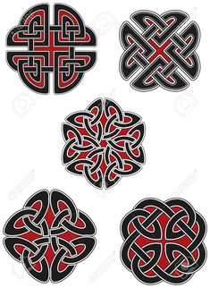 Set of celtic design elements Stock Vector Mais Viking Designs, Celtic Knot Designs, Celtic Symbols, Celtic Art, Celtic Knots, Celtic Dragon, Celtic Tattoos, Viking Tattoos, Irish Tattoos