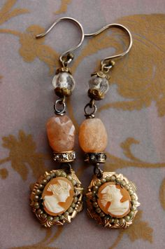 Peaches and Cream-antique vintage cameo assemblage earrings. $72.00, via Etsy.