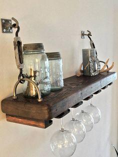 Reclaimed Wood Turnbuckle Shelf with Wine Glass Rack