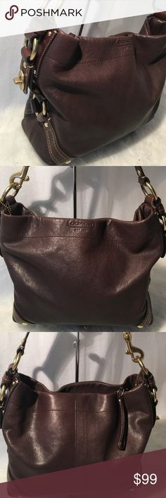 Coach Carly brown hobo bag Beautiful used bag has gentle used with minor dirt inside that can was be wash. Coach Bags Hobos