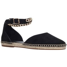 KG by Kurt Geiger Magma Suede Espadrilles, Black (335 RON) ❤ liked on Polyvore featuring shoes, sandals, flat sandals, ankle strap sandals, black sandals, black flat shoes and flat pumps