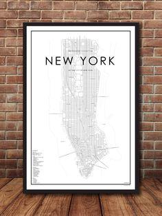 Map of Manhattan, New York, New York City Map, New York Print, Map Poster, NYC Map, New York Map, Manhattan Map, Street Map, Map of NYC par EastonCoStudio sur Etsy https://www.etsy.com/ca-fr/listing/475143210/map-of-manhattan-new-york-new-york-city