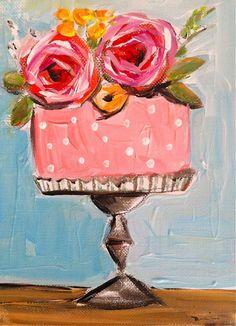 Cake Flowers Painting by DevinePaintings on Etsy, $38.00